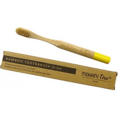 Bambusowa szczoteczka do zębów dla dzieci - żółta, włosie miękkie  Mohani