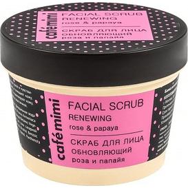 Cafe Mimi Peeling do twarzy odnawiający - róża i papaja, 110 ml