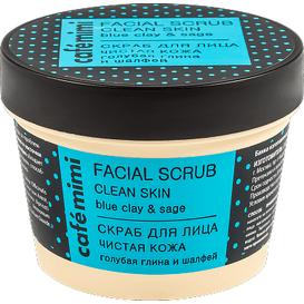 Cafe Mimi Peeling do twarzy oczyszczona cera - błękitna glina i szałwia, 110 ml