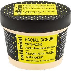 Cafe Mimi Peeling do twarzy anti-acne - czarny węgiel i drzewo herbaciane
