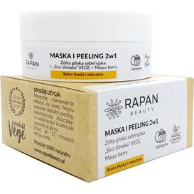 Rapan Beauty Maska i peeling 2w1 - Żółta glinka syberyjska i wegański śluz ślimaka