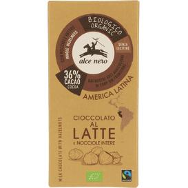 Alce Nero Czekolada mleczna z orzechami Fair Trade BIO, 100 g