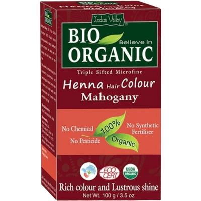 Organiczna farba do włosów na bazie henny - Mahoń (data ważności: 31.01.2022) Indus Valley