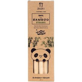 Zuzii Słomki bambusowe -without skin - do gęstych napoi 5 szt. + czyścik