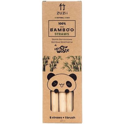 Słomki bambusowe -without skin - do gęstych napoi 5 szt. + czyścik Zuzii