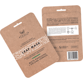 Akcesoria Spa Maska ze sprasowanych liści -  Mięta pieprzowa i zielona herbata, 1 szt.
