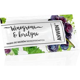 Anwen Maska do włosów średnioporowatych w saszetce - Winogrona i keratyna, 10 ml