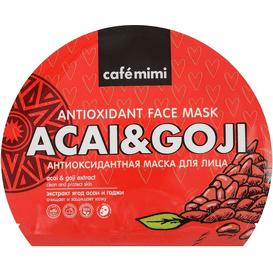 Cafe Mimi Pielęgnująca maska do twarzy w płachcie z ekstraktami jagód acai i goji