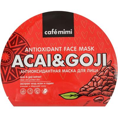 Pielęgnująca maska do twarzy w płachcie z ekstraktami jagód acai i goji Cafe Mimi