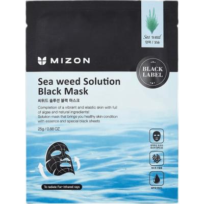 Sea Weed Solution Black Mask - Maska z ekstraktem z wodorostów na czarnym płacie bawełny Mizon