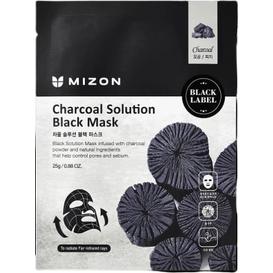 Mizon Charcoal Solution Black Mask - Maska z węglem aktywnym na czarnym płacie bawełny, 25 g