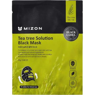 Tea Tree Solution Black Mask - Maska z ekstraktem z drzewa herbacianego na czarnym płacie bawełny Mizon