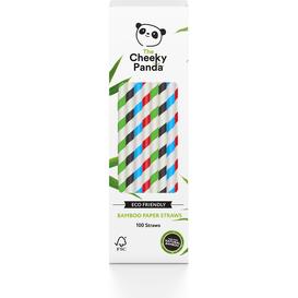 Cheeky Panda Jednorazowe słomki bambusowe - Kolorowe paski