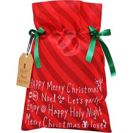 Akcesoria Spa Worek prezentowy świąteczny - Czerwone paski - rozmiar XL