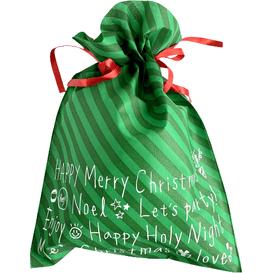 Akcesoria Spa Worek prezentowy świąteczny - Zielone paski - rozmiar XL
