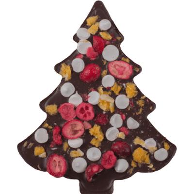 Choinka z gorzkiej czekolady z żurawiną, pomarańczą i bezami M.Pelczar Chocolatier