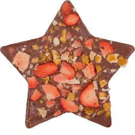 M.Pelczar Chocolatier Gwiazda z mlecznej czekolady z truskawkami i pomarańczą, 110 g