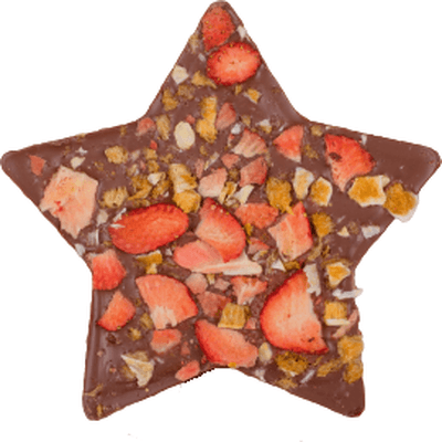 Gwiazda z mlecznej czekolady z truskawkami i pomarańczą M.Pelczar Chocolatier