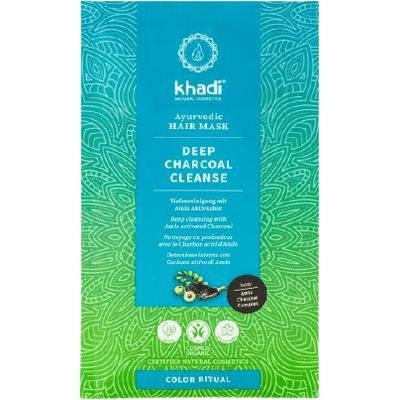 Głęboko oczyszczająca maska do włosów - Aktywny węgiel i amla Khadi
