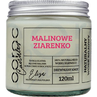 Świeca sojowa mała w słoiku - Malinowe ziarenko Ooroc
