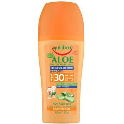 Aloesowy krem przeciwsłoneczny w sprayu dla dzieci SPF 30+ Equilibra