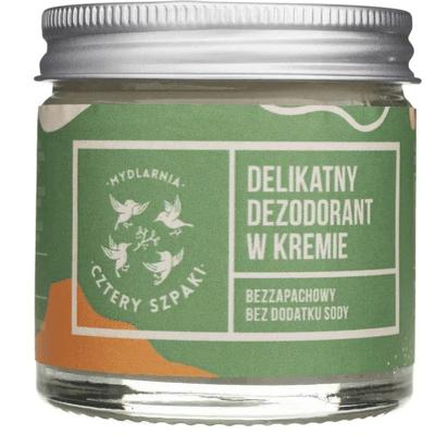 Delikatny dezodorant  w kremie - Bezzapachowy, bez dodatku sody Mydlarnia Cztery Szpaki