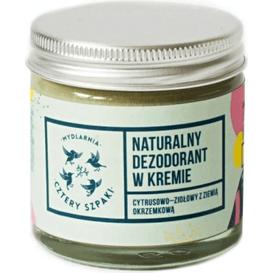Mydlarnia Cztery Szpaki Dezodorant w kremie cytrusowo-ziołowy, bez dodatku sody, 60 ml