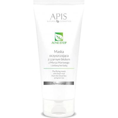 Oczyszczająca maska z czarnym błotem z Morza Martwego i zieloną herbatą - Acne-stop APIS