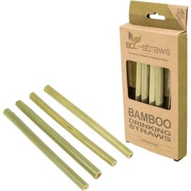 Produkty less waste Ecostrawz - Bambusowe wielorazowe słomki do picia, 4 sztuki, 4 szt.