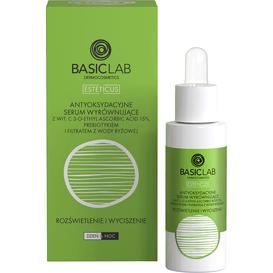 BasicLab Antyoksydacyjne serum wyrównujące z 15% wit.C - rozświetlenie i wyciszenie, 30 ml