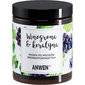 Anwen Maska do włosów średnioporowatych - Winogrona i keratyna - szkło, 180 ml