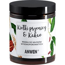 Anwen Maska do włosów wysokoporowatych - Kiełki pszenicy i kakao - szkło, 180 ml