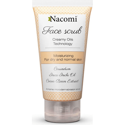 Nawilżający peeling do twarzy z korundem i olejem z migdałów Nacomi