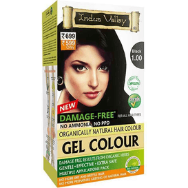 Indus Valley Żelowa farba do włosów - Czarna, 120 ml