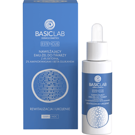 BasicLab Nawilżający emu-żel do twarzy z 4% ektoiną, aminokwasami i beta-glukanem - rewitalizacja i ukojenie, 30 ml