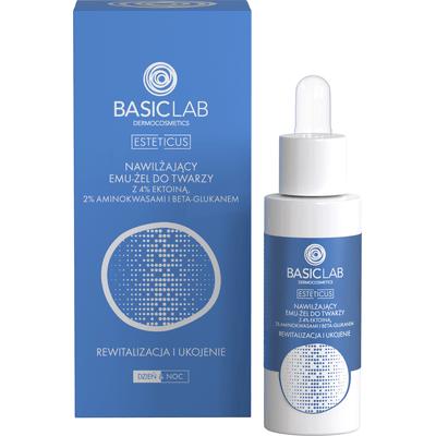 Nawilżający emu-żel do twarzy z 4% ektoiną, aminokwasami i beta-glukanem - rewitalizacja i ukojenie BasicLab