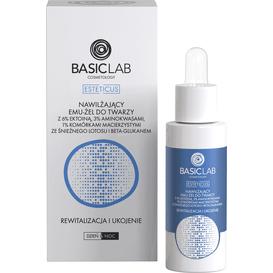 BasicLab Nawilżający emu-żel do twarzy z 6% ektoiną i komórkami macierzystymi - rewitalizacja i ukojenie, 30 ml