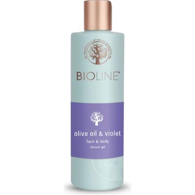 Żel pod prysznic i do mycia twarzy - Olive oil & violet Bioline