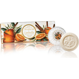 Saponificio Artigianale Fiorentino Naturalne mydełka tłoczone okrągłe - Pomarańcza z cynamonem