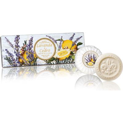 Naturalne mydełka tłoczone okrągłe - Lawenda z cedrem Saponificio Artigianale Fiorentino