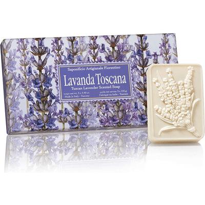 Naturalne mydełka tłoczone w ozdobnym opakowaniu - Lawenda toskańska Saponificio Artigianale Fiorentino