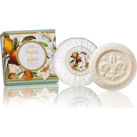 Saponificio Artigianale Fiorentino Naturalne mydełko rzeźbione okrągłe - Kwiaty lilii i owoce bergamotki