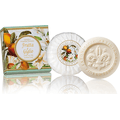 Naturalne mydełko rzeźbione okrągłe - Kwiaty lilii i owoce bergamotki