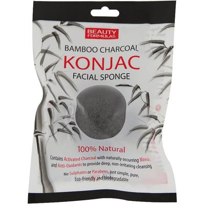 Naturalna gąbka konjac do mycia twarzy z węglem z bambusa Beauty Formulas