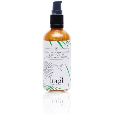 Naturalny olejek do ciała z olejem chia i drobinkami złota Hagi