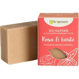 La Saponaria Naturalne mydło odżywcze dla skóry wrażliwej - Róża i masło karitè, 100 g
