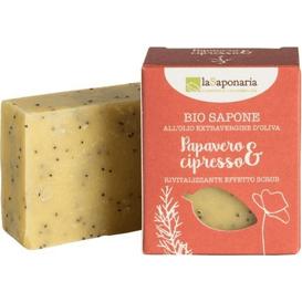 La Saponaria Naturalne mydło rewitalizujące o działaniu peelingującym  - Mak i cyprys, 100 g