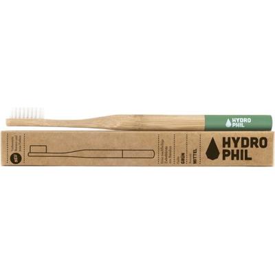 Naturalna bambusowa szczoteczka do zębów - włosie średnie - zielona Hydrophil
