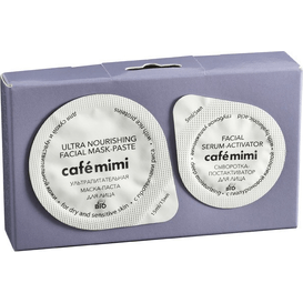 Cafe Mimi Dwuetapowy zestaw do pielęgnacji twarzy z proteinami ryżu dla skóry suchej i wrażliwej