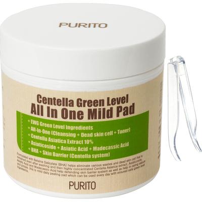 Centella Green Level All In One Mild Pad - Oczyszczające waciki z wyciągiem z wąkrotki azjatyckiej Purito
